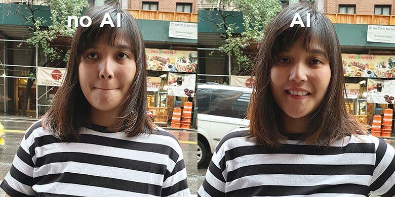 Perbandingan hasil foto kamera Galaxy Note 9 dengan penyetelan AI dan non-AI.