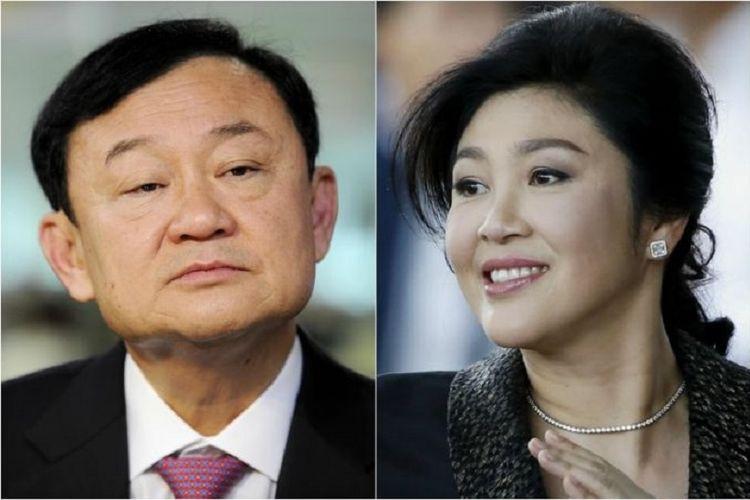 Mantan Perdana Menteri Thailand Thaksin Shinawatra (kiri) dan Yingluck Shinawatra