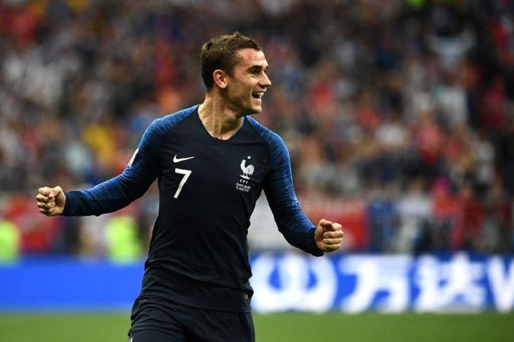 Antoine Griezmann merayakan gol Perancis ke gawang Kroasia pada final Piala Dunia 2018 di Stadion Luzhniki, 15 Juli 2018.