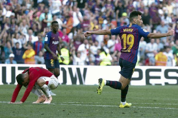 Munir El Haddadi merayakan golnya pada pertandingan Barcelona vs Athletic Bilbao dalam lanjutan La Liga Spanyol di Camp Nou, 29 September 2018.