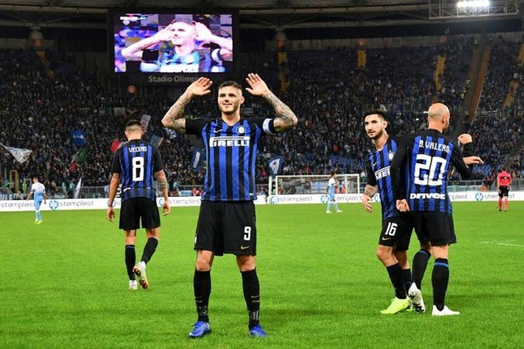 Aksi Mauro Icardi saat merayakan golnya pada laga Lazio vs Inter Milan di Stadion Olimpico dalam lanjutan Liga Italia, 29 Oktober 2018.