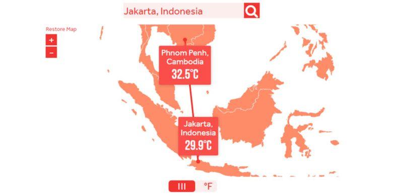 Jakarta yang saat ini suhunya 29,9° C, tanpa pengurangan emisi moderat, pada 2100 suhunya akan setara dengan suhu Phnom Penh, Kamboja saat ini (32,5° C).