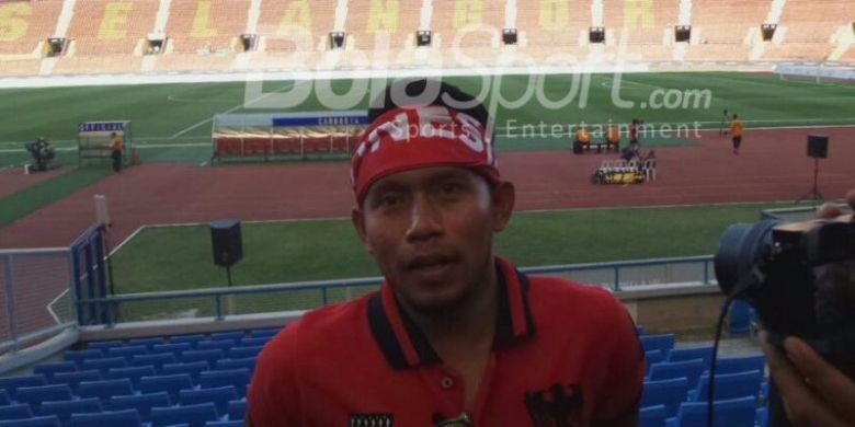 Andik Vermansah beri dukungan langsung saat timnas Indonesia hadapi Kamboja, Kamis (24/8/2017).