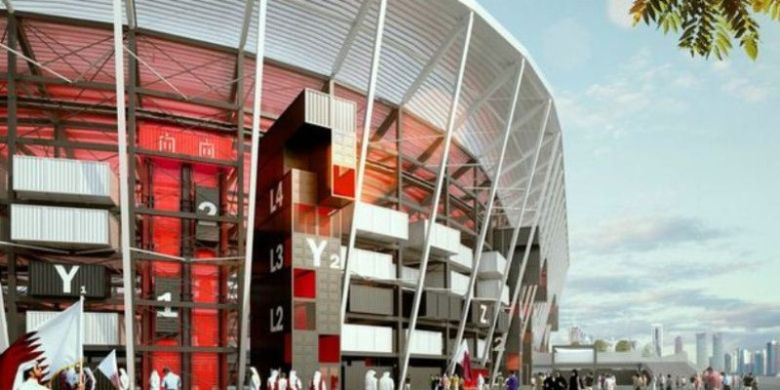 Ras Abu Aboud Stadium di Qatar yang sedang dalam proses pembangunan.