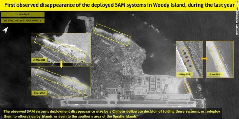 Citra satelit yang diambil di Pulau Woody masing-masing pada 20 Mei dan 3 Juni memperlihatkan China telah memindahkan sistem rudalnya dari kawasan Laut China Selatan.