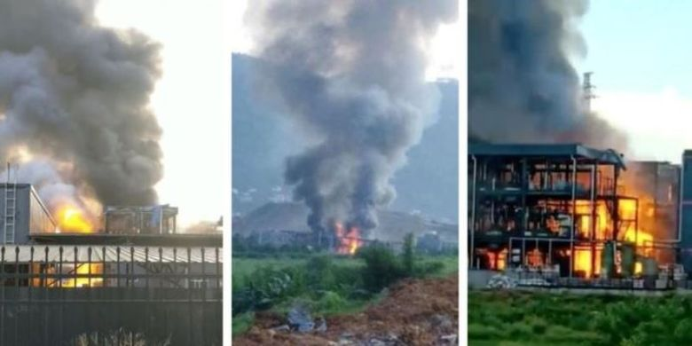 Ledakan terjadi di sebuah pabrik kimia di kawasan industri Yibin Hengda di Chengdu, Sichuan, China, Kamis (12/7/2018) sehingga menyebabkan 19 orang tewas. (Weibo via BBC)