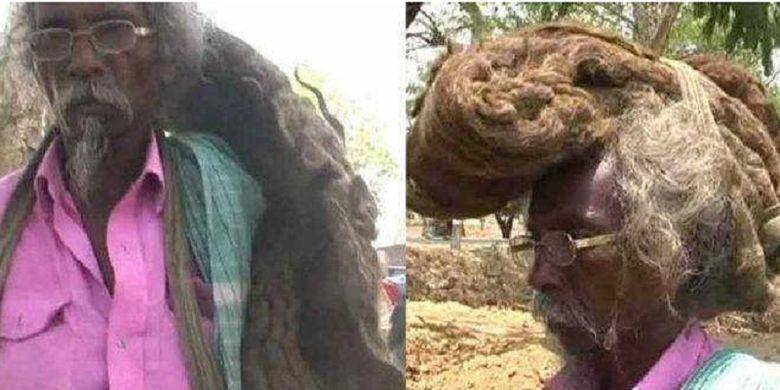 Sakal Dev Tuddu. Pria asal Bihar, India, yang memutuskan tidak potong rambut dan keramas selama 40 tahun terakhir.