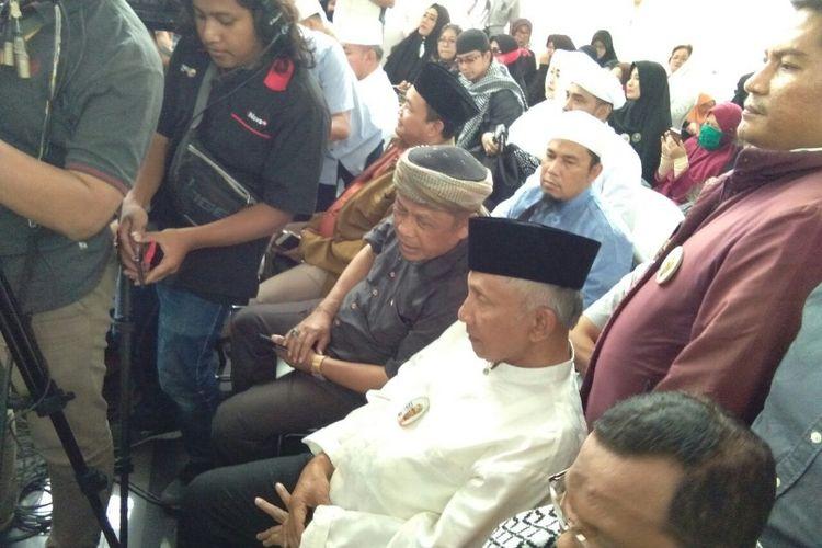 Ketua Dewan Kehormatan Partai Amanat Nasional (PAN) Amien Rais menghadiri sidang putusan terdakwan pelanggar UU ITE, Buni Yani di Gedung Dinas Perpustakaan dan Arsip (Dispusip), Jalan Seram, Kota Bandung, Selasa (14/11/2017) siang.
