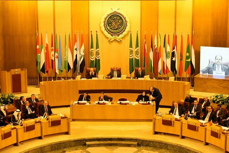Pertemuan negara-negara Liga Arab yang dihadiri menteri luar negeri masing-masing anggota di Kairo, Mesir, Sabtu (9/12/2017), membahas pengakuan AS terhadap Yerusalem.