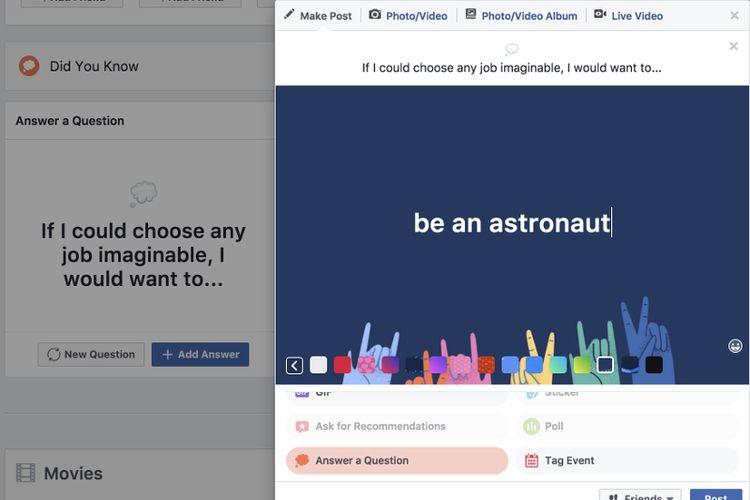Fitur baru Facebook yang menanyakan berbagai hal ke pengguna.