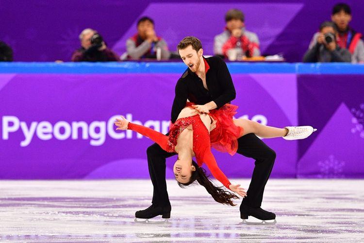 Atlet figure skating Korea Selatan Yura Min dan Alexander Gamelin tampil di Olimpiade Musim Dingin di Pyeongchang.