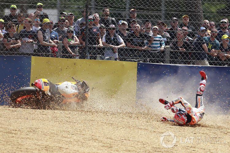 Marc Marquez yang terperosok pada GP Perancis 2017.