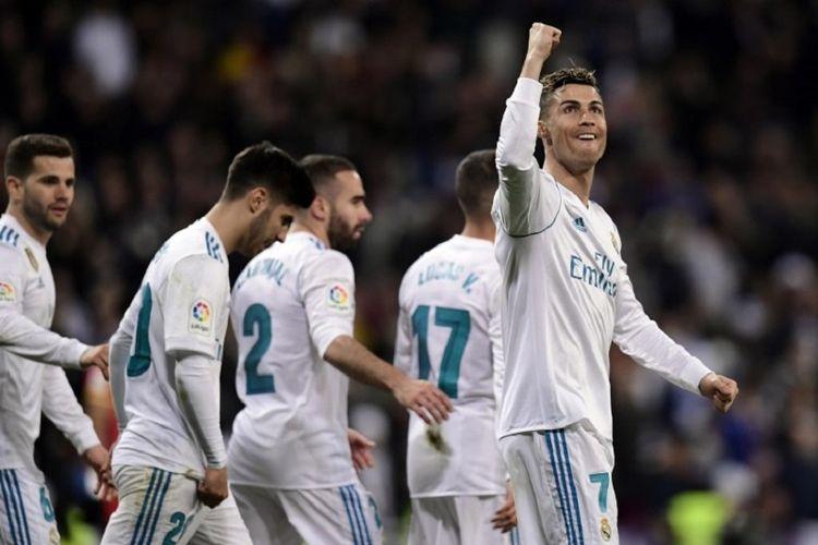 Cristiano Ronaldo merayakan gol Real Madrid ke gawang Girona pada pertandingan La Liga Spanyol di Stadion Santiago Bernabeu, 18 Maret 2018.