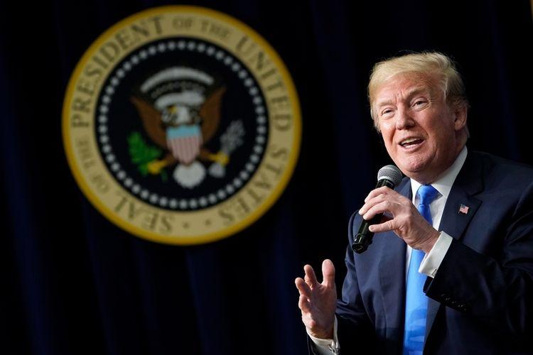 Presiden Amerika Serikat Donald Trump berbicara di acara Generation Next, sebuah Forum Gedung Putih yang menghadirkan kaum milenial dan pejabat pemerintah pada Kamis (22/3/2018), di Washington DC. (AFP/Mandel Ngan)