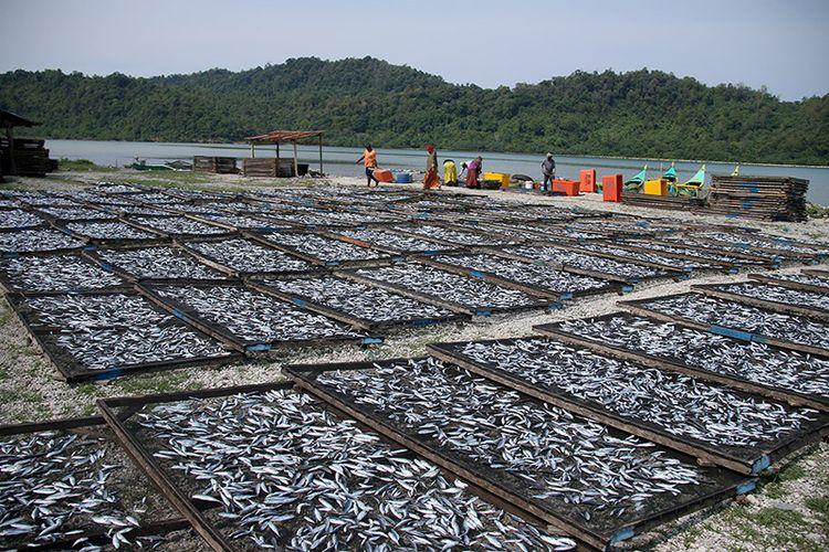Hasan, Isteri dan sejumlah pekerja, Warga Desa Layeun, Kecamatan Lhokseudu, Kabupaten Aceh Besar sedang mengolah ikan segar menjadi ikan asin, Minggu (25/03/18).  ikan segar yang diolah menjadi ikan asin itu dibeli langsung dari hasil tangkapan nelayan Lehok Seudu, kemudian dicuci, diberikan garam, dan dijemur selama dua hari hingga kering. Ikan asin ini nantinya akan dipasarkan ke Medan Sumatera Umtara dan Padang Sumatera Barat dengan harga Rp. 30 hingga Rp 40 ribu perkilogramnya.