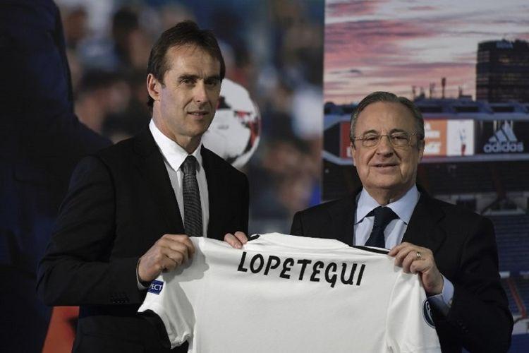 Presiden Real Madrid, Florentino Perez, memperkenalkan Julen Lopetegui sebagai pelatih baru di markas klub, 14 Juni 2018.