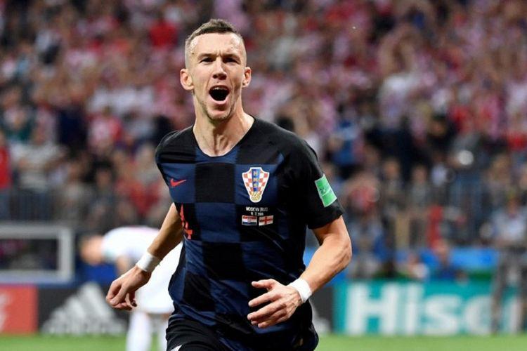 Ivan Perisic merayakan gol Kroasia ke gawang Inggris pada pertandingan semifinal Piala Dunia 2018 di Stadion Luzhniki, 11 Juli 2018.