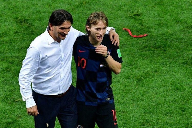 Seusai laga Kroasia vs Inggris, pelatih Zlatko Dalic dan kapten Luka Modric merayakan kemenangan timnya pada semifinal Piala Dunia 2018 di Stadion Luzhniki, 11 Juli 2018.