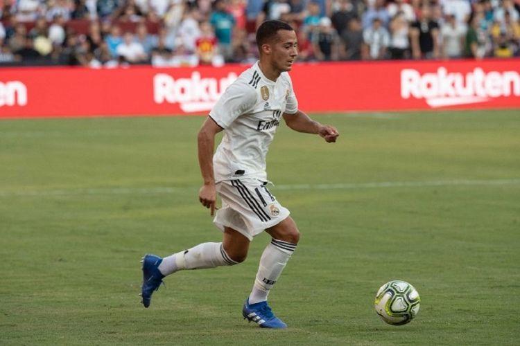 Pemain Real Madrid, Lucas Vazquez, tampil pada laga ICC 2018 melawan Juventus di Maryland, 4 Agustus 2018.