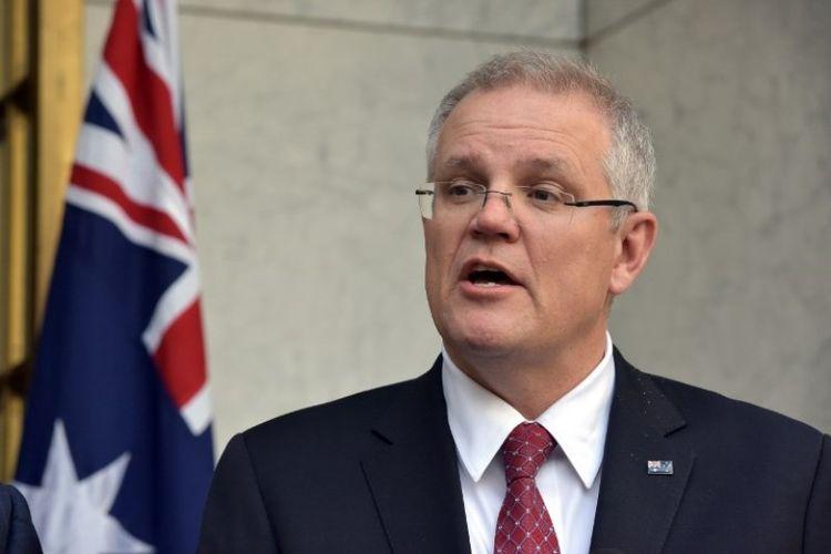 Scott Morrison terpilih sebagai perdana menteri baru Australia pada Jumat (24/8/2018). (AFP/Mark Graham)