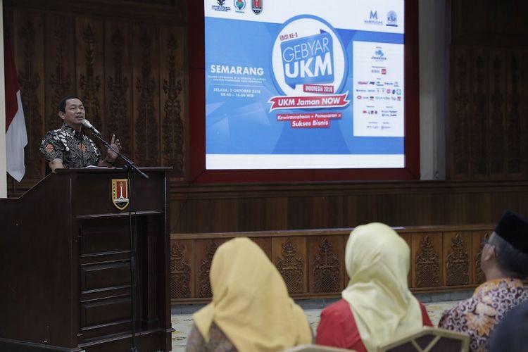 Wali Kota Semarang Hendrar Prihadi membuka secara resmi gebyar UKM Indonesia dengan tema UKM Indonesia Jaman Now di Gedung Lokakrida lantai 8 Balai Kota, Selasa (2/10/2018).