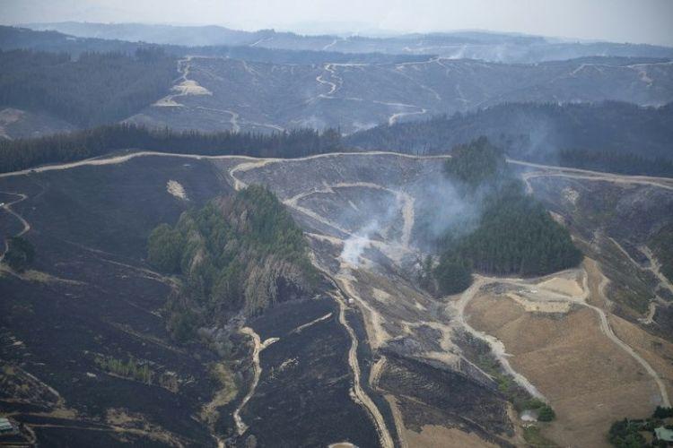 Asap terlihat muncul dari area yang terkena dampak kebakaran hutan di Distrik Tasman di Pulau Selatan, Selandia Baru, Jumat (8/2/2019). AFP/CHAD SHARMAN/NEW ZEALAND DEFENCE FORCE)