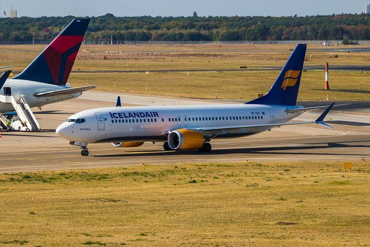 Sebuah Boeing 737 MAX 8 milik maskapai penerbangan Icelandair.