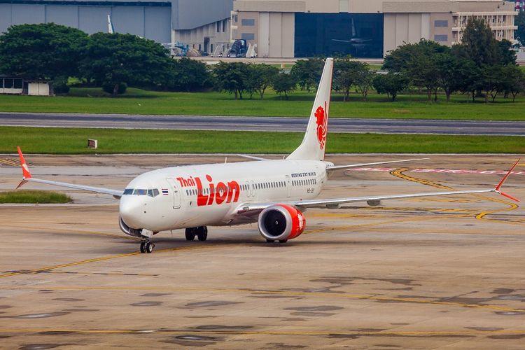 Sebuah Boeing &37 Max 9 milik maskapai Thai Lion di bandara Bangkok, Thailand.