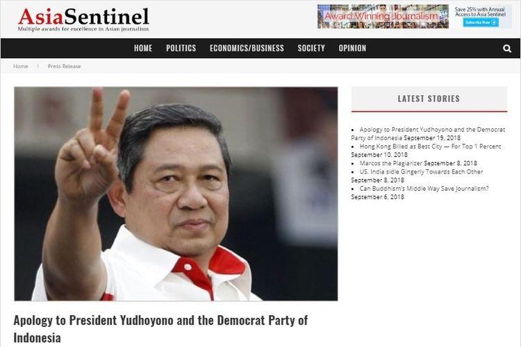 Artikel permintaan maaf Asia Sentinel kepada SBY dan Partai Demokrat yang diunggah pada Rabu (19/9/2018).