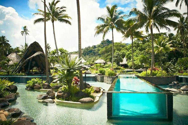 Penginapan yang terletak di Pulau Laucala, pulau pribadi dari pemilik Red Bull, Dietrich Mateschitz.