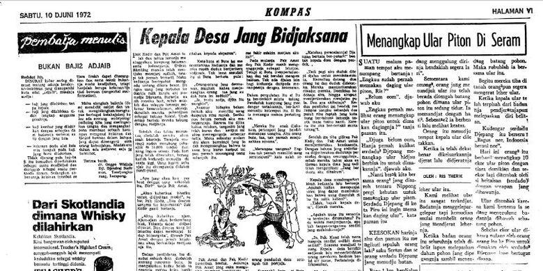 Artikel Menangkap Ular Piton di Seram di harian Kompas edisi 10 Juni 1972