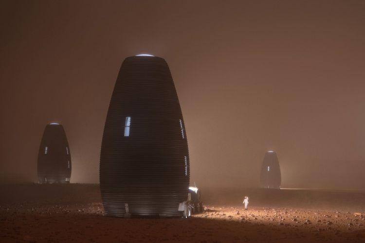 Rancangan rumah di Mars yang didesain oleh perusahaan AI SpaceFactory