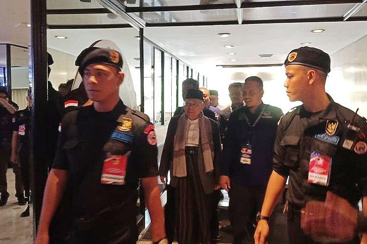 Bakal calon wakil presiden Maruf Amin mendatangi acara pembekalan calon anggota legislatif Partai Nasdem, di Hotel Mercure, kawasan Ancol, Jakarta, Minggu (2/9/2018).