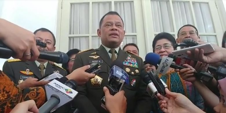 Panglima TNI Jenderal Gatot Nurmantyo di Istana Kepresidenan, Selasa (24/10/2017).
