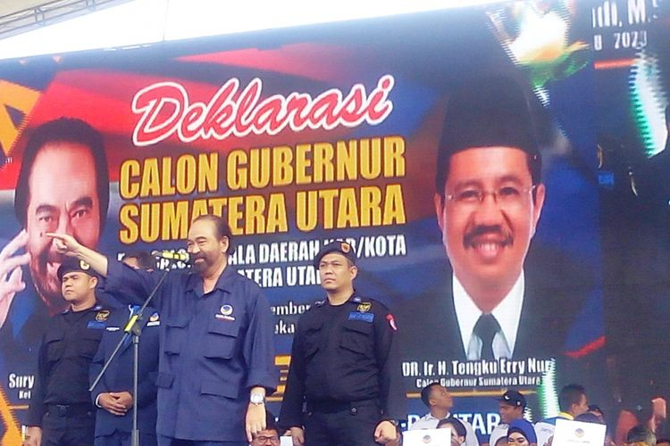Ketua DPW Partai Nasdem Provinsi Sumut yang juga Gubernur Sumut Tengku Erry Nuradi ditetapkan sebagai calon gubernur pada pemilihan kepala daerah 2018 mendatang, Minggu (12/11/2017).