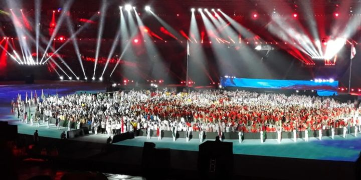 Suasana pada acara Upacara Penutupan Asian Games 2018 di SUGBK, Minggu (2/9/2018).
