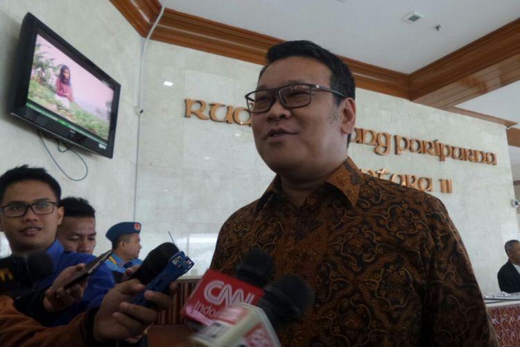 Wakil Sekretaris Jenderal PDI-P Eriko Sutarduga di Kompleks Parlemen, Senayan, Jakarta, Rabu (15/11/2017).