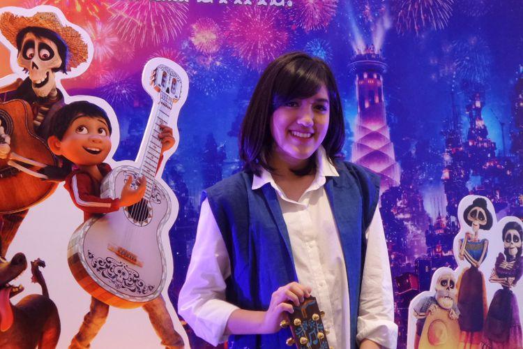Ify Alyssa berpose dalam acara kampanye film animasi Coco di NEO SOHO, Jakarta Barat, Jumat (24/11/2017).