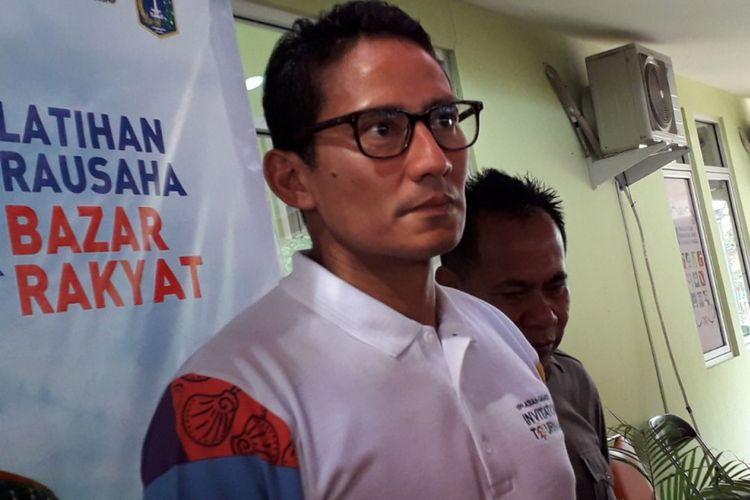 Wakil Gubernur DKI Jakarta Sandiaga Uno di RPTRA Kemayoran, Jakarta Pusat, Sabtu (10/2/2018).