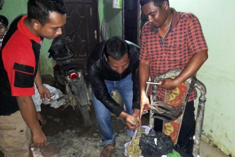 Polisi memperlihatkan barang bukti ganja dari pelaku penganiayaan di Desa Ladang Baro, Kecamatan Julok, Kabupaten Aceh Timur, Kamis (11/10/2018) dini hari.