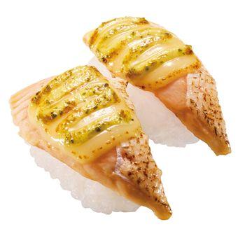Grilled Salmon Cheese with basil sauce (120 yen sebelum pajak)