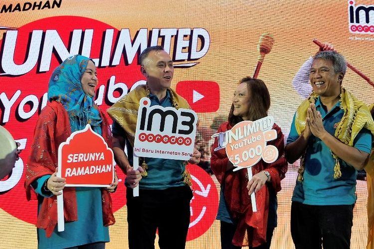 Peluncuran Paket Unlimited YouTube, Chat, Sosmed Indosat Ooredoo, Rabu (18/4/2018), untuk menyambut Ramadan.