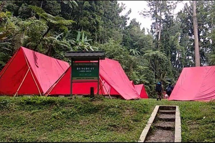 Salah satu camping ground di kawasan wisata Situ Gunung, Sukabumi, Jawa Barat.