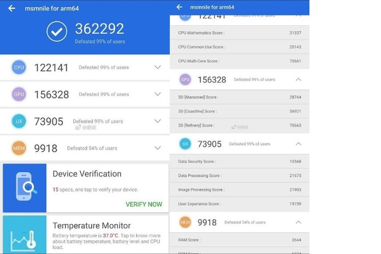 Skor benchmark AnTuTu Snapdragon 8150