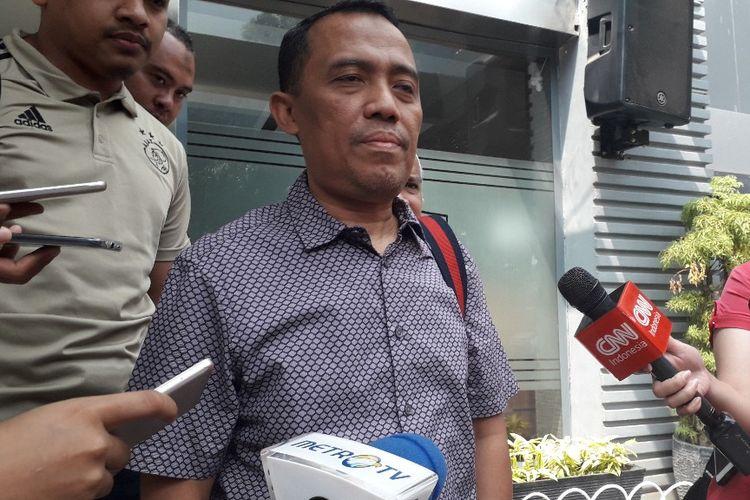 Ketua Bantuan Hukum FPI Sugito Atmo Prawiro di Mapolda Metro Jaya, Sabtu (25/5/2019).