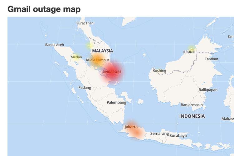 Layanan Gmail juga berimbas kepada sejumlah pengguna di Indonesia.