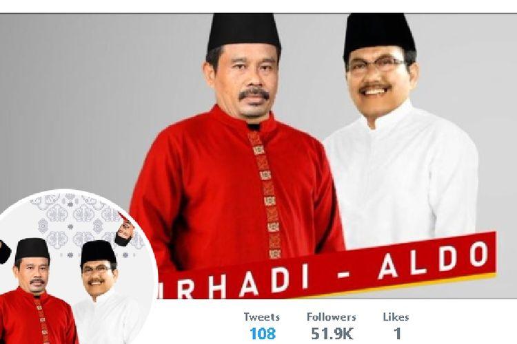 Gambar calon presiden Nurhadi dan pasangan cawapres-nya Aldo di akun Twitter mereka di @nurhadi_aldo yang menjadi viral.