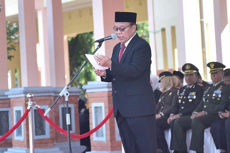 Bupati Lamongan, Fadeli, saat menjadi inspektur upacara Hari Kebangkitan Nasional (HKN), Senin (20/5/2019).