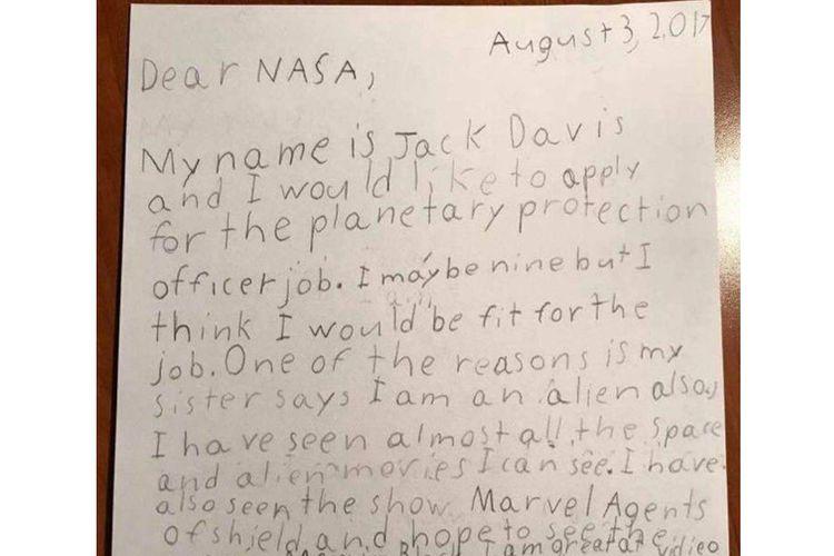 Surat lamaran Jack Davis untuk NASA