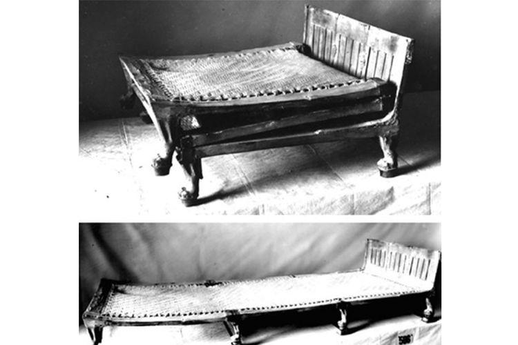 Tempat tidur Raja Tutankhamun yang bisa dilipat menyerupai huruf Z